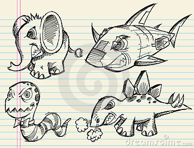 Notebook Doodle Sketch Vector Animal Set