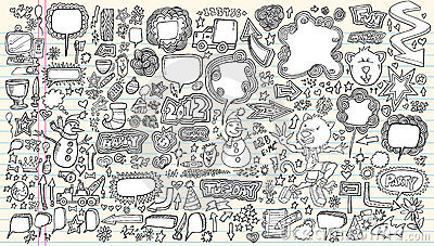 Notebook Doodle Vector Illustration Set