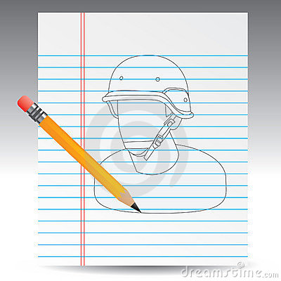 Notebook drawing with pencil of army man