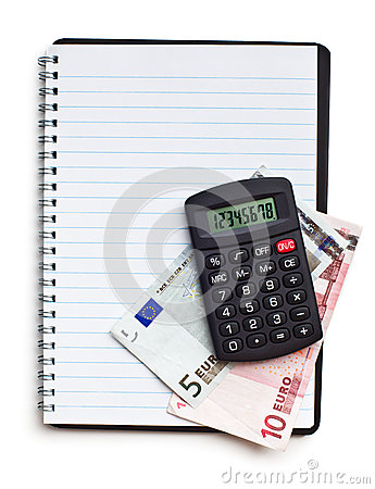 Notebook with euro money and calculator