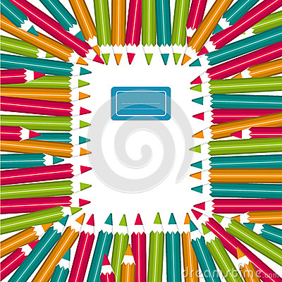 Free Notebook Frame Of Colorful Pencils Royalty Free Stock Images - 27409149