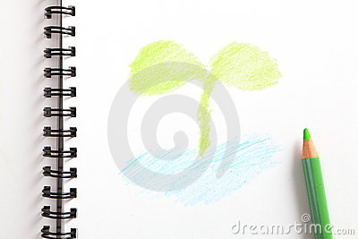 Notebook with green sapling and green pencil