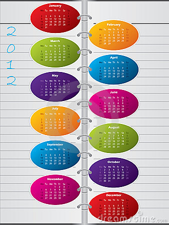Notebook like calendar design for 2012
