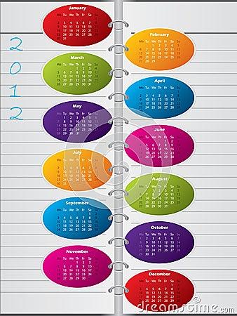 Notebook like calendar design for 2012
