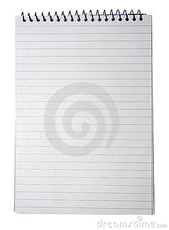 Notebook lined white paper note book lines texture background line page notes pad note pad on binding binder blank isolated empty