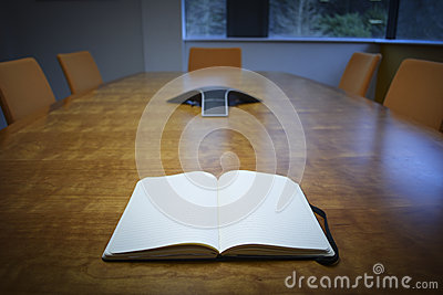 Notebook on Meeting Room Desk