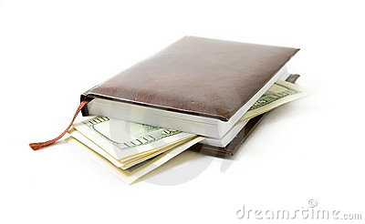 Notebook with a money