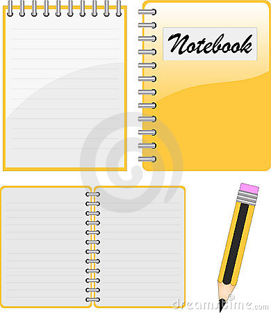 Notebook, notepad and pencil