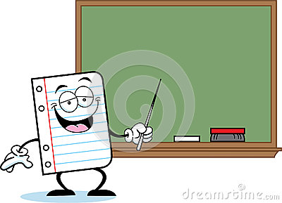 Notebook paper with a blackboard