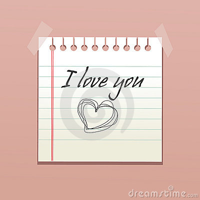 Notebook paper with love message
