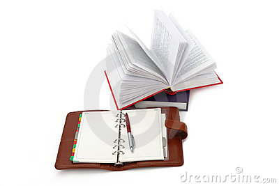Notebook, pen and books