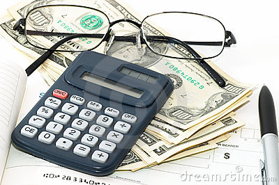 Notebook with pen, calculator, cheque book, cash and glasses