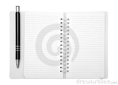 Notebook and pen with clipping path