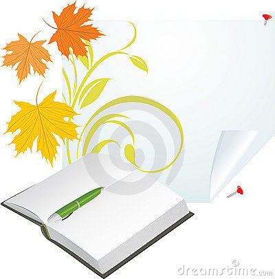 Notebook, pen and maple leaves on the pure page