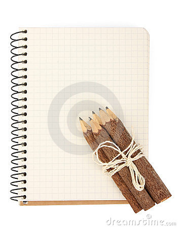 Notebook and pencils on white