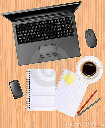Notebook, phone and office supplies