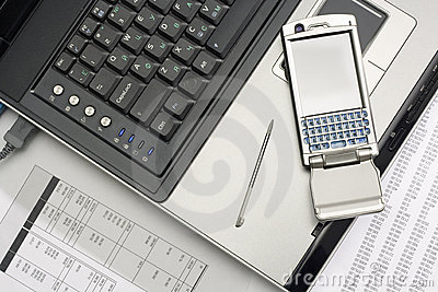 Notebook and smartphone. Office work.