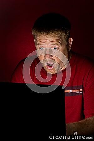 Notebook User Looking Shocked