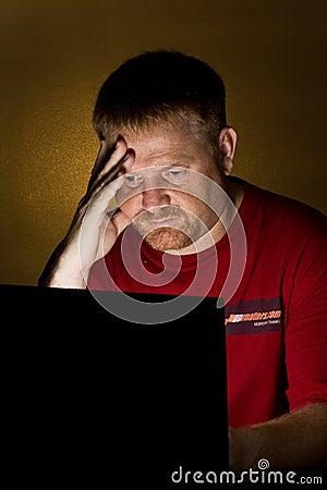 Notebook User Looking Worried