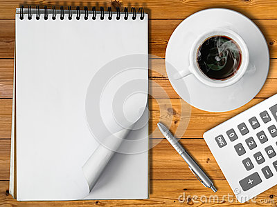 Notebook White cup of hot coffee silver pen
