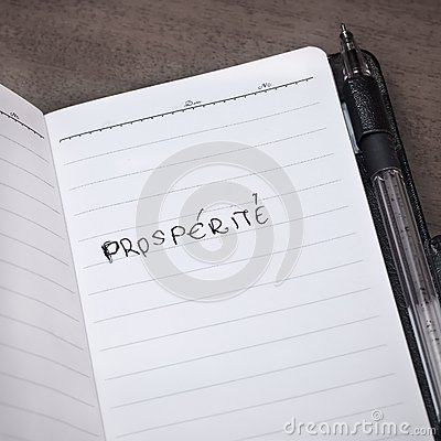 Notepad page with word prosperity written in it