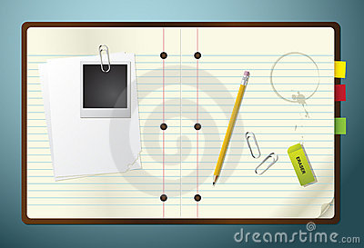 Notepad with Pencil, Eraser and Paperclips