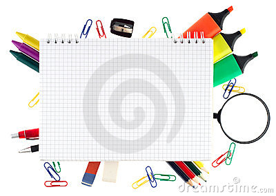 Notepad with stationary objects