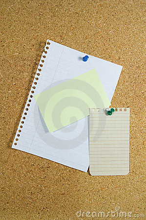 Notepaper on noticeboard