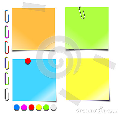 Free Notepaper Paperclips Pushpins Stock Photo - 26702410