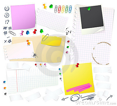 Free Notes, Papers And Thumbtack Stock Photos - 7507583