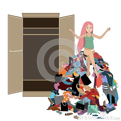 Free Nothing To Wear Concept, Young Attractive Stressed Woman Seating In A Pile Of Messy Clothes Gotten Out Of Closet. Vector Royalty Free Stock Photos - 136011628