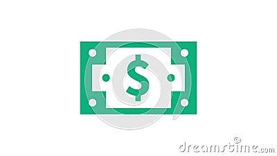 Notificação de doação de dinheiro, vídeo de animação ilustração royalty free