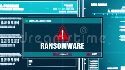 45 Notificación amonestadora de Ransomware en alarma de seguridad de Digitaces en la pantalla libre illustration