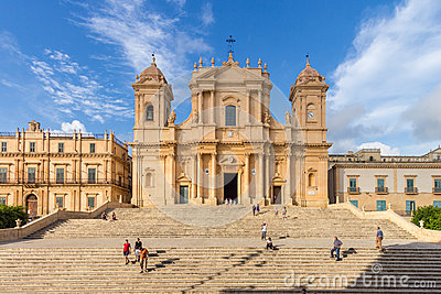 Noto Cathedrahl Sicily Italy Editorial Photography