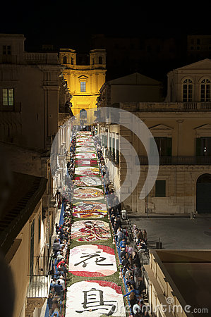 Noto in Province of Siracusa, Sicily. The Infiorata. Editorial Image