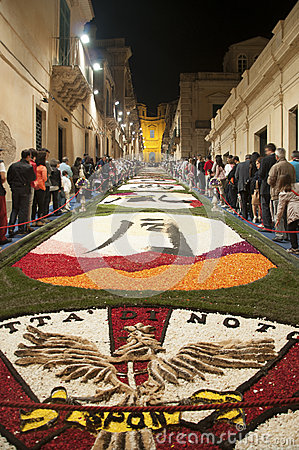 Noto in Province of Siracusa, Sicily. The Infiorata. Editorial Stock Photo