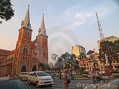 Notre Dame cathedral, Ho Chi Minh City, Vietnam. Editorial Stock Photo