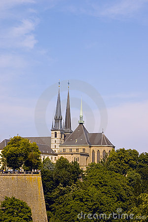 Notre-Dame Cathedral in Luxembourg with surrounding