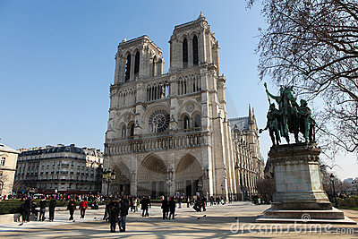 Notre Dame Cathedral in Paris, France Editorial Photography