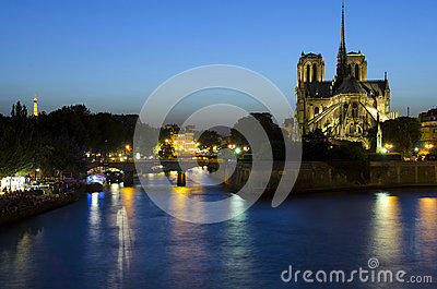 Notre Dame cathedral in Paris at night Editorial Photography