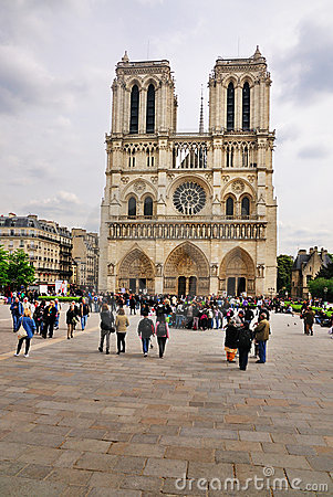 Notre Dame on a cloudy day Editorial Stock Image