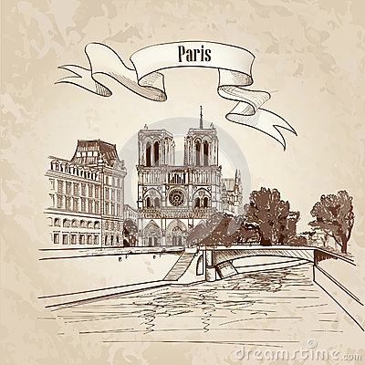 Free Notre Dame De Paris Cathedral. Cityscape Old-fashioned Background With Seine River, Bridge. Paris, Ile De La Cite. Stock Image - 36136791