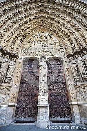 Free Notre Dame De Paris, Gothic Portal, France Stock Photo - 54756930