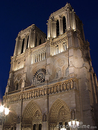 Notre-Dame de Paris illuminated in Paris.