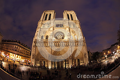Notre Dame in night with fisheye on Paris