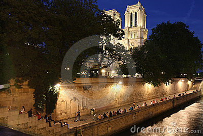 Notre Dame and Seine Embankment Editorial Photography