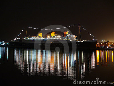 Notte di Queen Mary Fotografia Editoriale
