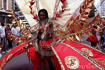Notting Hill Carnival - red woman Editorial Photo