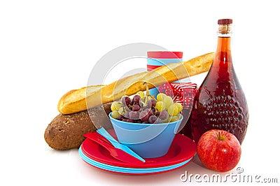 nourriture de pique nique en vaisselle bleue photo stock image 16786030. Black Bedroom Furniture Sets. Home Design Ideas
