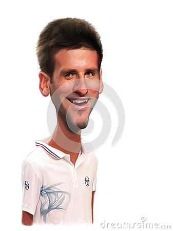 Novak Djokovic Caricature Portrait Editorial Photo